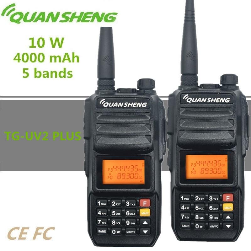 2PCS QUANSHENG TG-UV2 PLUS Walkie Talkie 10W 4000mAh Long Range HF Transceiver 5 Bands Police Scanner Ham CB Radio Station 200CH