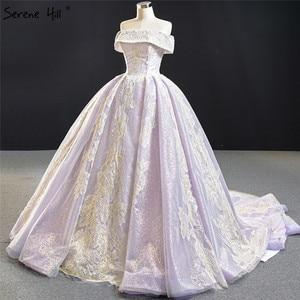 Image 3 - שלווה היל סגול תחרה ואגלי פרל שרוולים שמלות כלה 2020 כבוי כתף סקסי כלה שמלות DHM67082 תפור לפי מידה