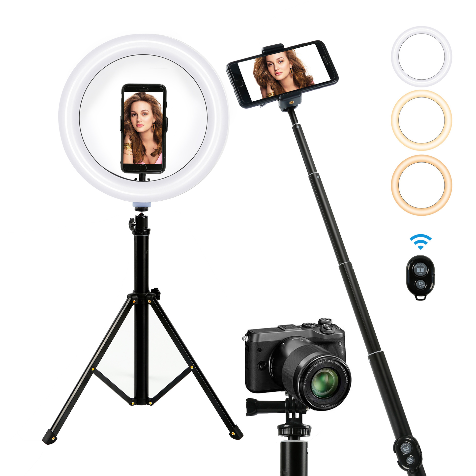 Phone Selfie Stick Stand Tripod 26cm Dimmable Photography Selfie Ring for Youtube VK Live Video Lighting Photo Studio Ring lamp