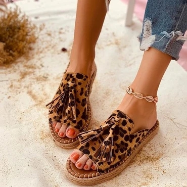 WENYUJH Tassel Women Sandals Leopard Flat Sandals Comfort Women Shoes Woman Sandalie Women Slippers Ladies Shoes Plus Size