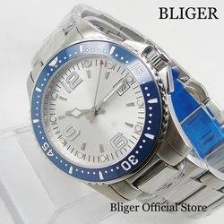 BLIGER Nologo automatyczny męski zegarek z datownikiem szafirowe szkło 40mm nakręcany zegarek w Zegarki mechaniczne od Zegarki na
