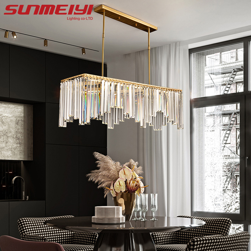 Copper Crystal Chandeliers Led Lamp Gold Pendant Chandelier Lighting For Living room Dining room Bedroom Loft Lamp lampadario