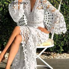 Women Dresses Lace Dress Flare Sleeve V-neck Hollow Out Long