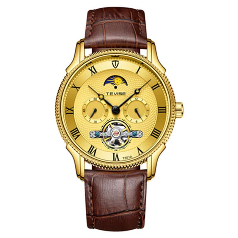 Tevise Luxury Automatic Mechanical Men Watches Leather Strap Fashion Moon phase Multi-function Tourbillon Waterproof Wristwatch