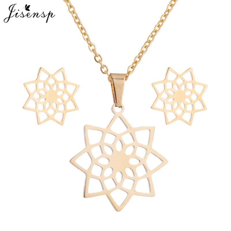 Jisensp Gold Stainless Steel Jewelry Sets for Women Cute Animal Butterfly Earrings Necklace Best Gift for Friend Girls kolye