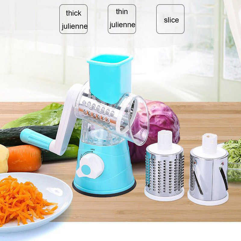 3in1 Multi-Fungsi Drum Rotary Parutan Dapur Alat Tangan Cutter Manual Vegetable Cutter Alat Pemotong Mandoline Sayuran Spiralizer