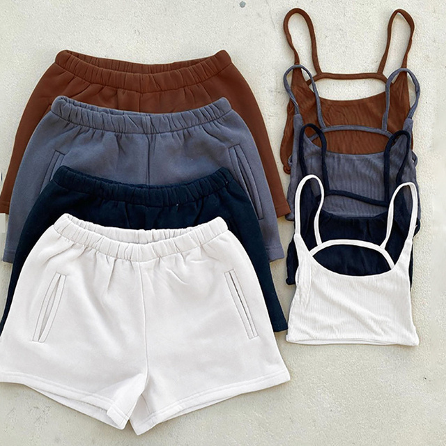 2021 Crop Top New Casual Drawstring Shorts Matching Set Solid Sportswear Two Piece Sets Women's Summer Sexy Athleisure Outfits 1