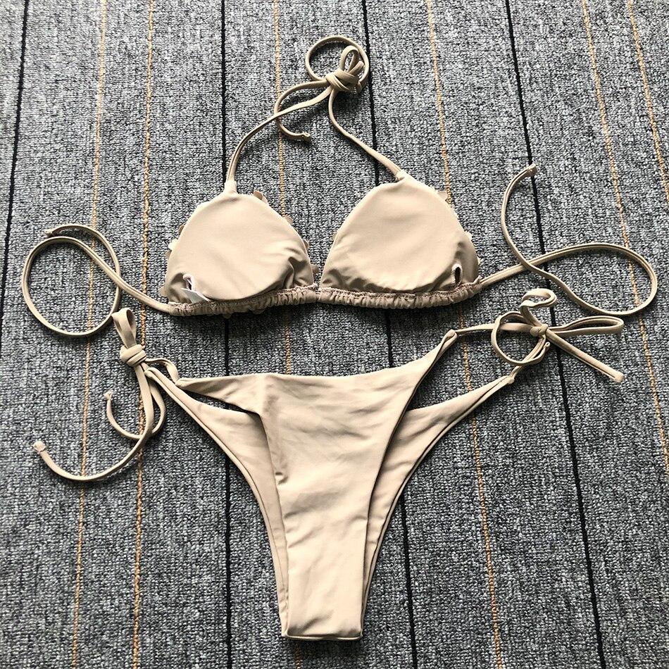 Сексуальный бикини, купальник с лямкой через шею, Одноцветный Купальник для женщин, плюс размер, блестящий комплект бикини с окантовкой, купальный костюм, пуш-ап, двухсекционный костюм