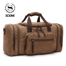 Scione Men Travel Bags Canvas Carry On Luggage Weekend Duffel Bag Large Capacity For