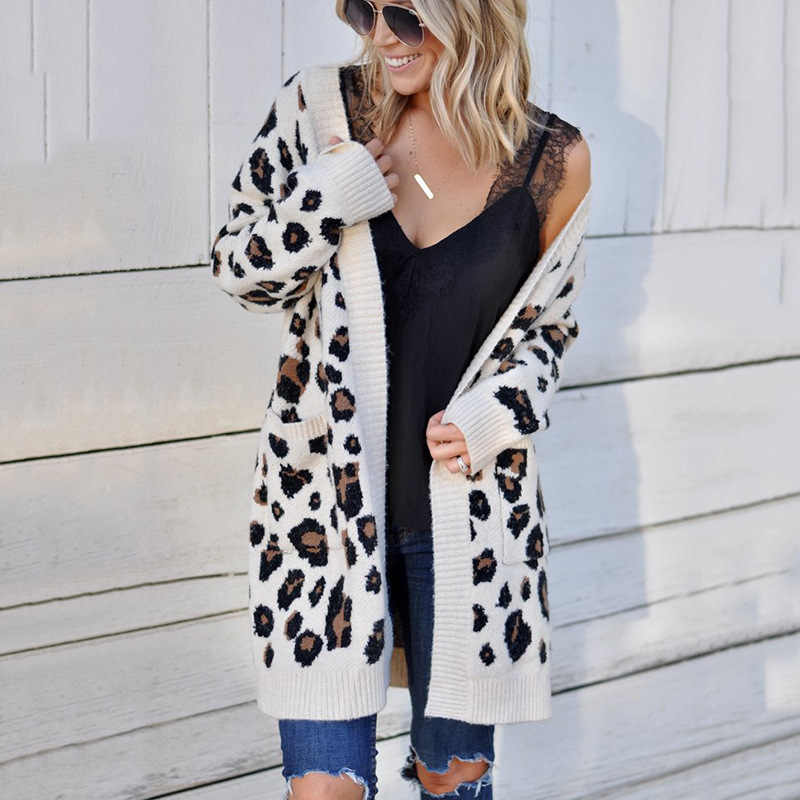 Yeni uzun hırka 2019 cep leopar v yaka sonbahar ve kış avrupa ve amerikan kazak giyim kadın vestidos MMY77052
