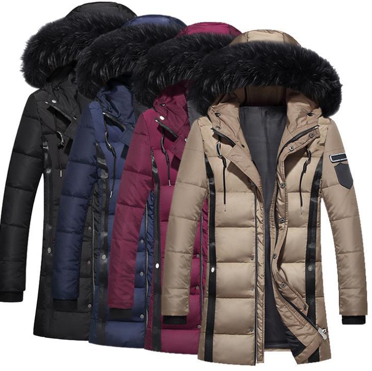 Winter Men Thick Fur Designer Coats Warm Windbreaker Hooed Long Solid Down Jackets