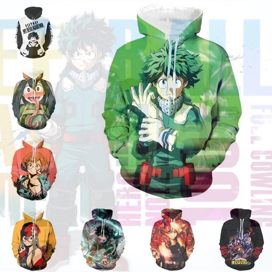 Anime Sweatshirts Hoodie My Hero Academia Bakugo Katsuki Cosplay Costume Todoroki Shoto Jacket Halloween Men Woman Top New