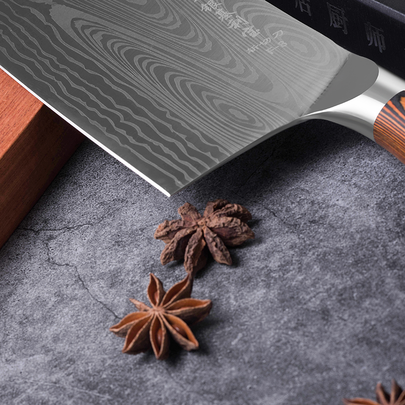 Deng knife High-grade handmade forged blade carbon steel kitchen knife Chinese chef knife vegetable cleaver kitchen Colour wood 6