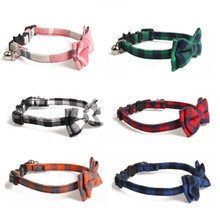 2020 New Pet Collar Bow Cat Collar Buckle Multi-color Pet Supplies Small Cat and Dog Collar British Style with Bell Fashion