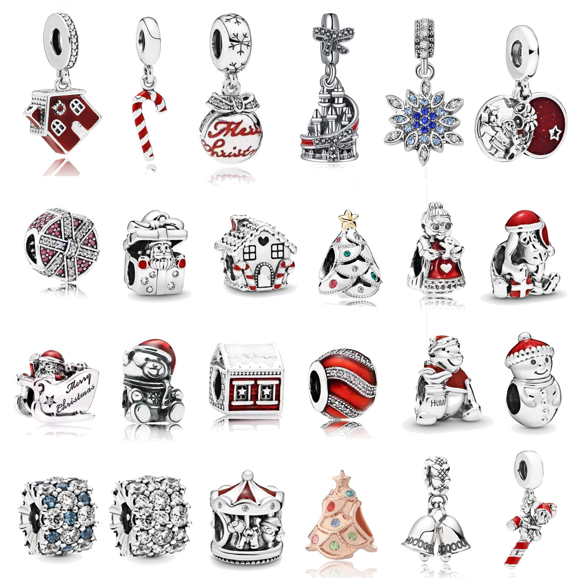 2020 New Alloy House Snowman Santa  Christmas European Bead Charm Fit Bracelets Bangles Necklace DIY Women Jewelry Gifts