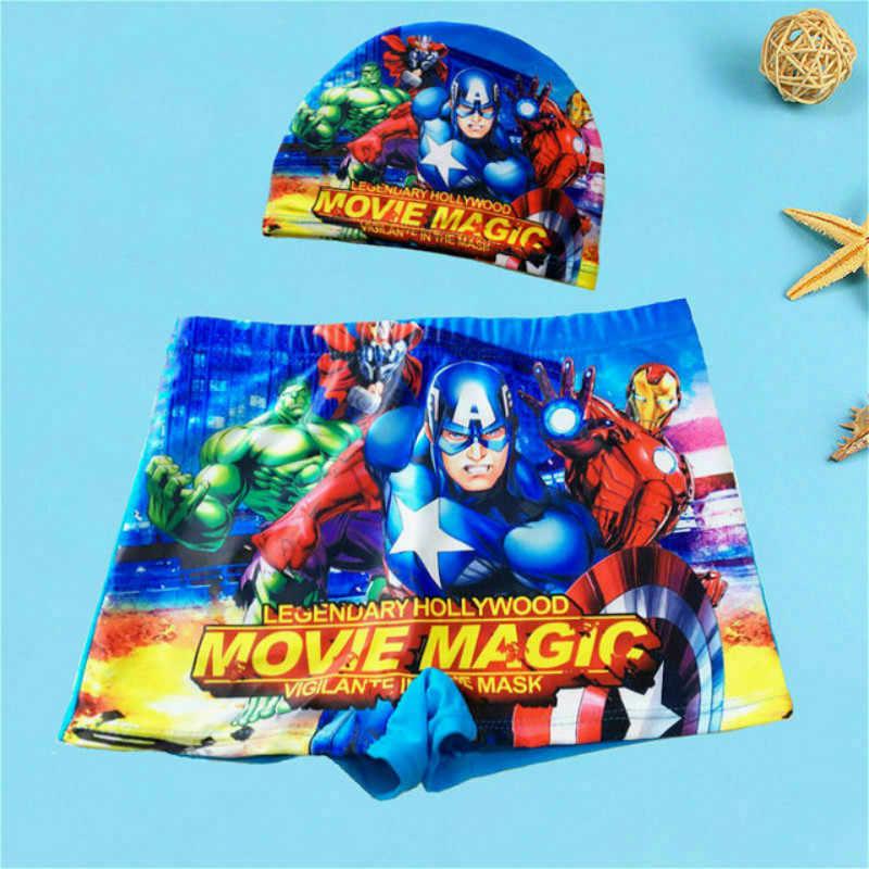 Bayi Laki-laki Baju Renang Celana Cap Set Anak Baju Renang Musim Panas Celana Pendek Kartun Spiderman Superman Pixar Mobil Cetak Anak Renang