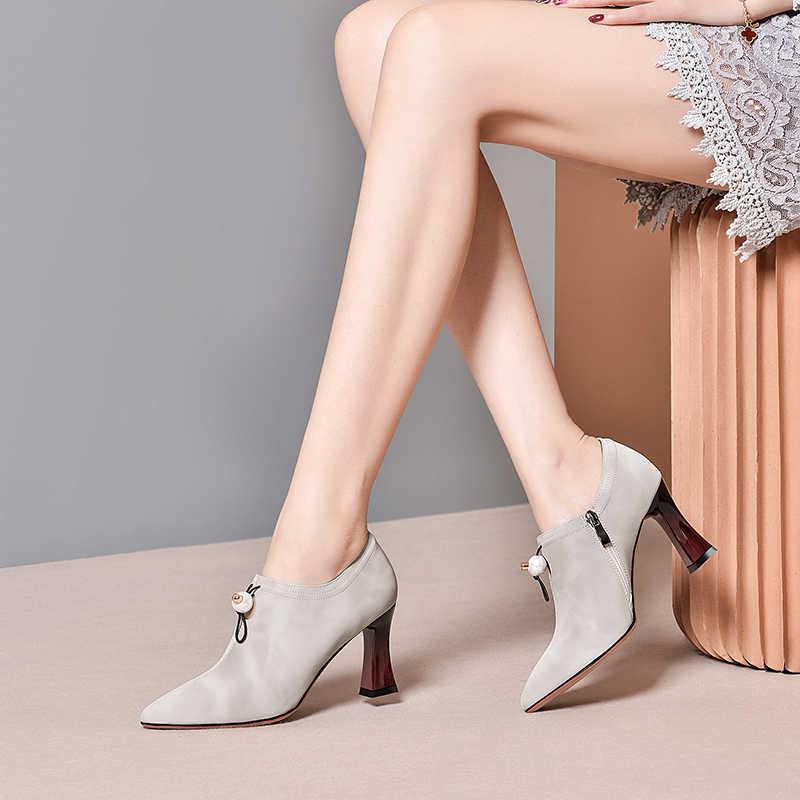 Kadın kısa bahar botları ayak bileği bayanlar doğal süet çizmeler sivri burun fermuar ayakkabı 2020 kadın çizme Steinmeier