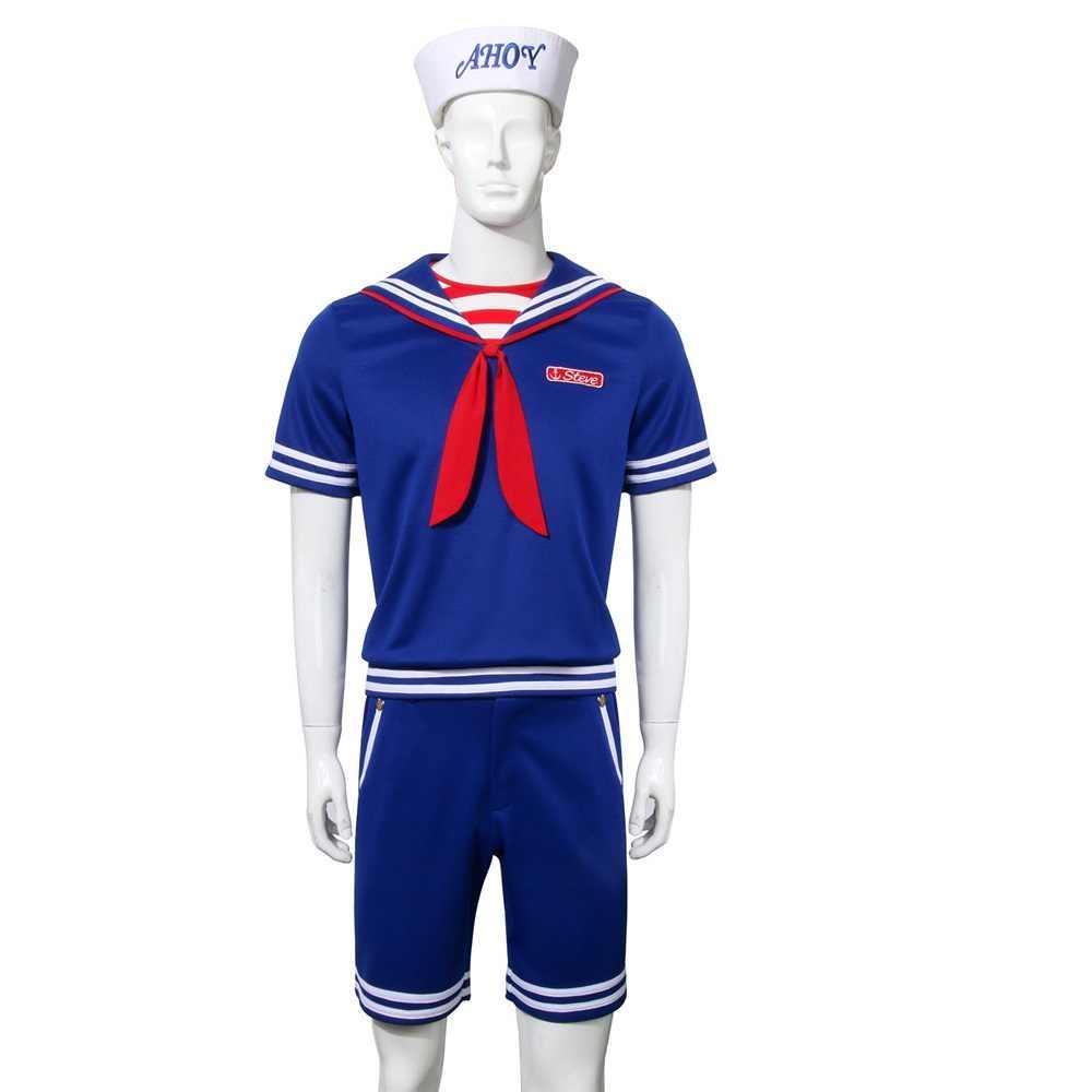 Voor Stranger Dingen Steve Robin Scoops Ahoy Halloween Kostuum Volwassenen Kinderen Matrozenpakje Overhemd Vest Shorts Uniform Of Sok 2019