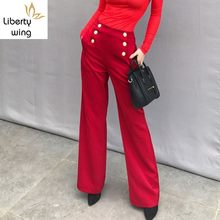 Spring New Runway Women Retro Straight Long Double Breasted High Waist Trousers Female Loose Fit Office Ladies Brand Pants(China)