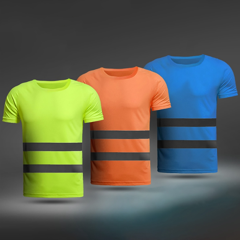 Summer Fluorescent Yellow Orange High Visibility Safety Work Running Shirt Summer Breathable Work Reflective T-shirt New