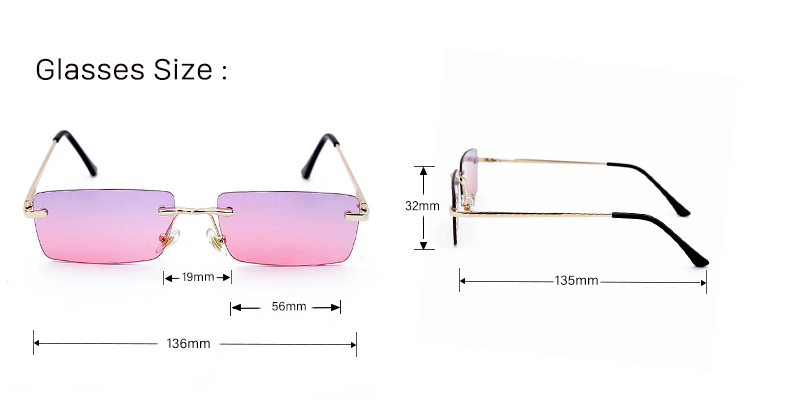 Women Square Rimless Sunglasses