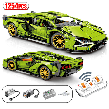 1254Pcs City MOC RC/non-RC Super Sports Car Remote Control Racing high-tech Vehicle Building Blocks Bricks Toys For Children 1
