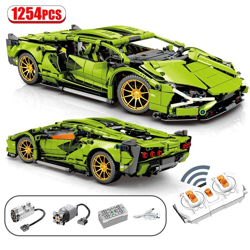 1254 pces cidade técnica moc rc/não-rc super esportes carro de controle remoto de corrida veículo blocos de construção racer tijolos brinquedos para crianças