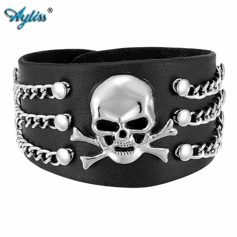 Ayliss 2017 Punk Pu Leather Skull Design Bracelet Wristband Adjustable Size 6.5 To 8 Inches Cool Punk Men's Bracelet Jewelry 1pc
