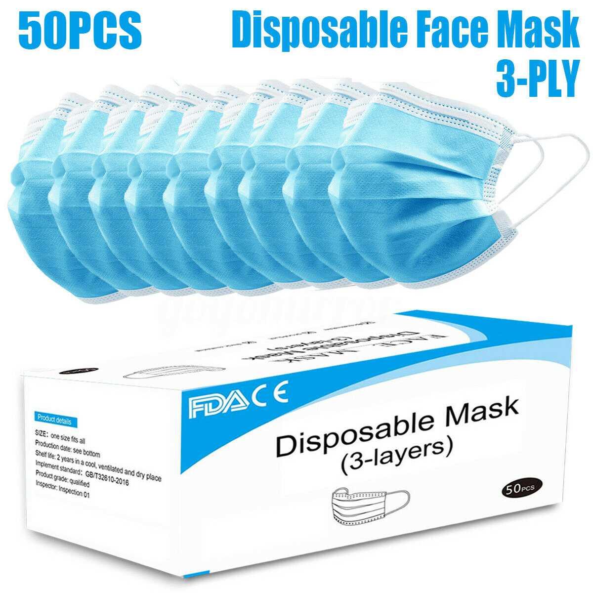 100 pcs disposable ear loop face masks