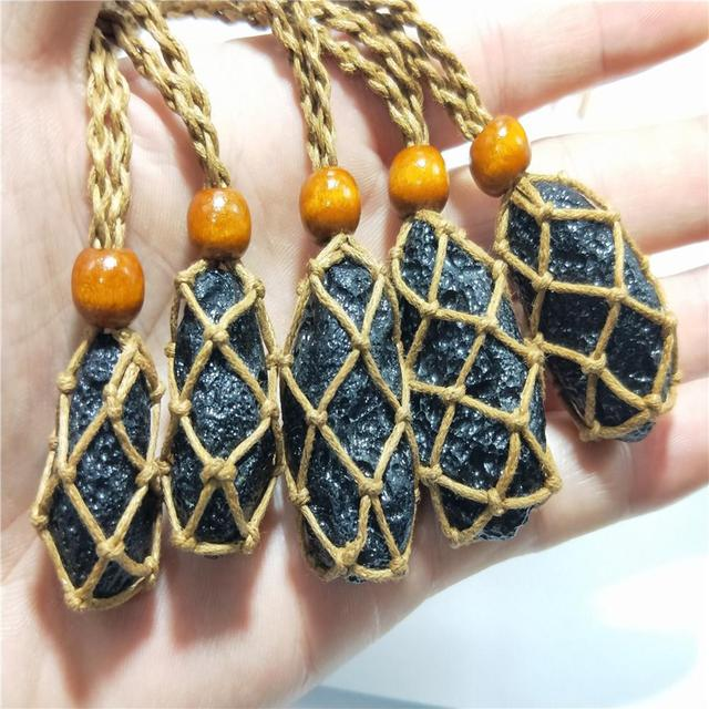 Natürliche Schwarze Meteorit Anhänger Halskette Unregelmäßigen Schwarzen Meteoriten Halskette Beste Schmuck Geschenk Für Männer Frauen Hohe Qualität