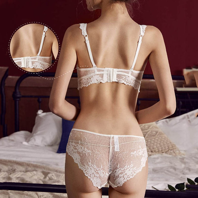 CINOON  New Women's underwear Set Sexy Push-up Bra And Panty Sets Hollow Brassiere Gather Sexy Bra Embroidery Lace Lingerie Set 3