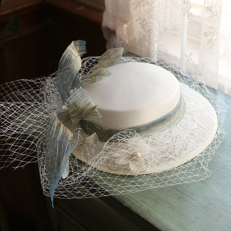 French Retro Hepburn Mori Bride Photo Hat Female Location Travel Personalized Top Hat Catwalk Headdress