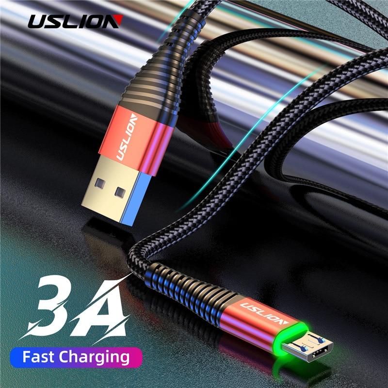 USLION 3A светодиодный Micro USB кабель для быстрой зарядки Micro usb зарядное устройство поддержка передачи данных для samsung шнур Android мобильного телефо...