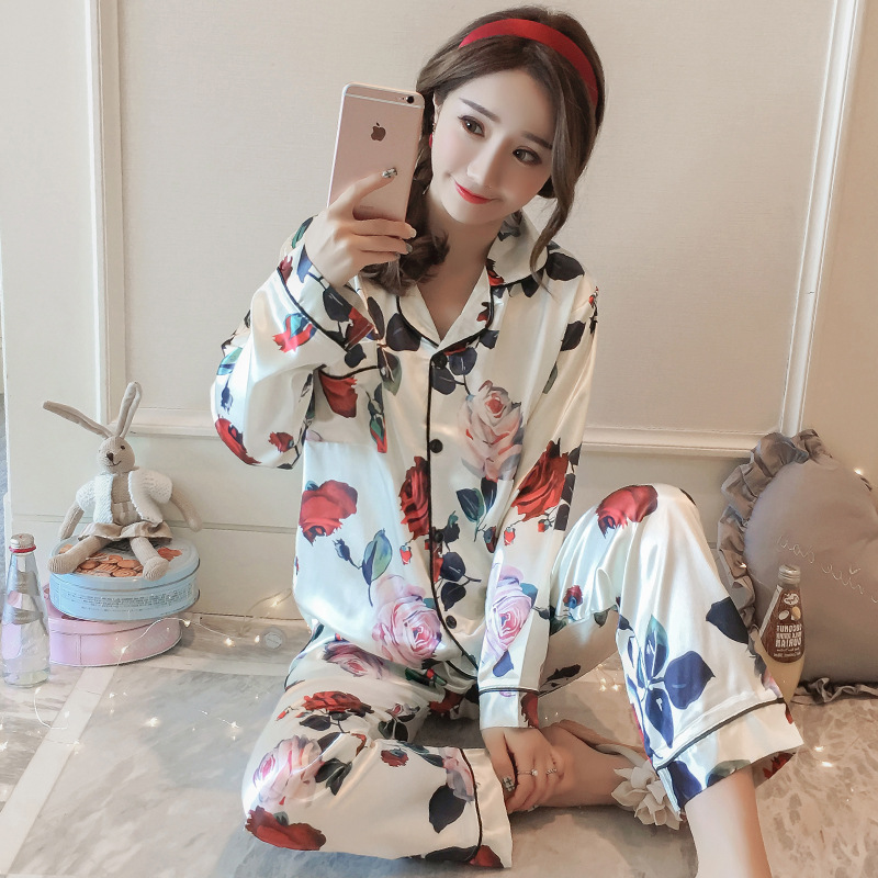 Spring And Autumn GIRL'S Korean-style Model Silk Long Sleeve Pajamas Rose Printed Tracksuit Fold-down Collar Set Victoria's Secr