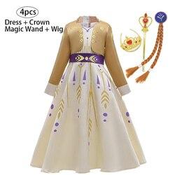 New Frozen 2 Anna Elsa Dress Girls Kids Dresses For Girls Costume Belle Princess Dress Easter Cosplay Party Children Clothing