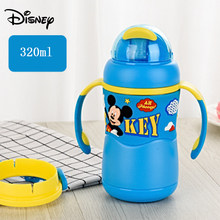 Disney children's straw cup with handle stainless steel cartoon water bottle portable infant anti-smashing drinking cup(China)