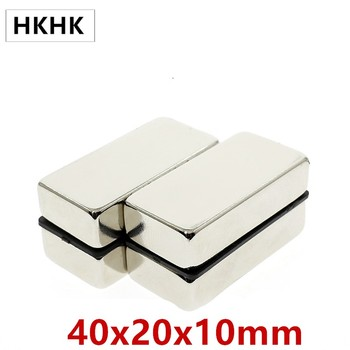 1-10pcs 40x20x10 mm Super Strong Sheet Rare Earth Magnet Thickness 10mm Block Rectangular Neodymium Magnets 40mm x 20mm x 10mm image