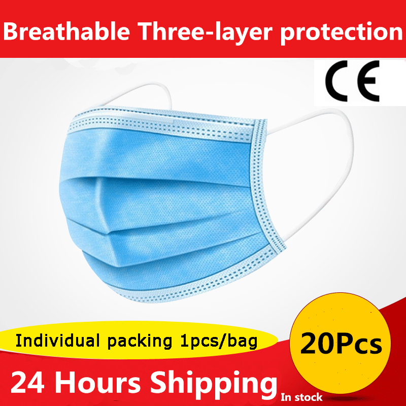 20 Pcs/Bag CE Disposable Mask 3-Layer Non-woven Disposable Elastic Mouth Soft Breathable Maternity Face Mask As KN95 KF94