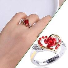 2021 Trend Ring For Women Luxury Rhinestones With heart-shaped Flower Bohemia Romantic Love Rose women's Finger Ring For Wedding