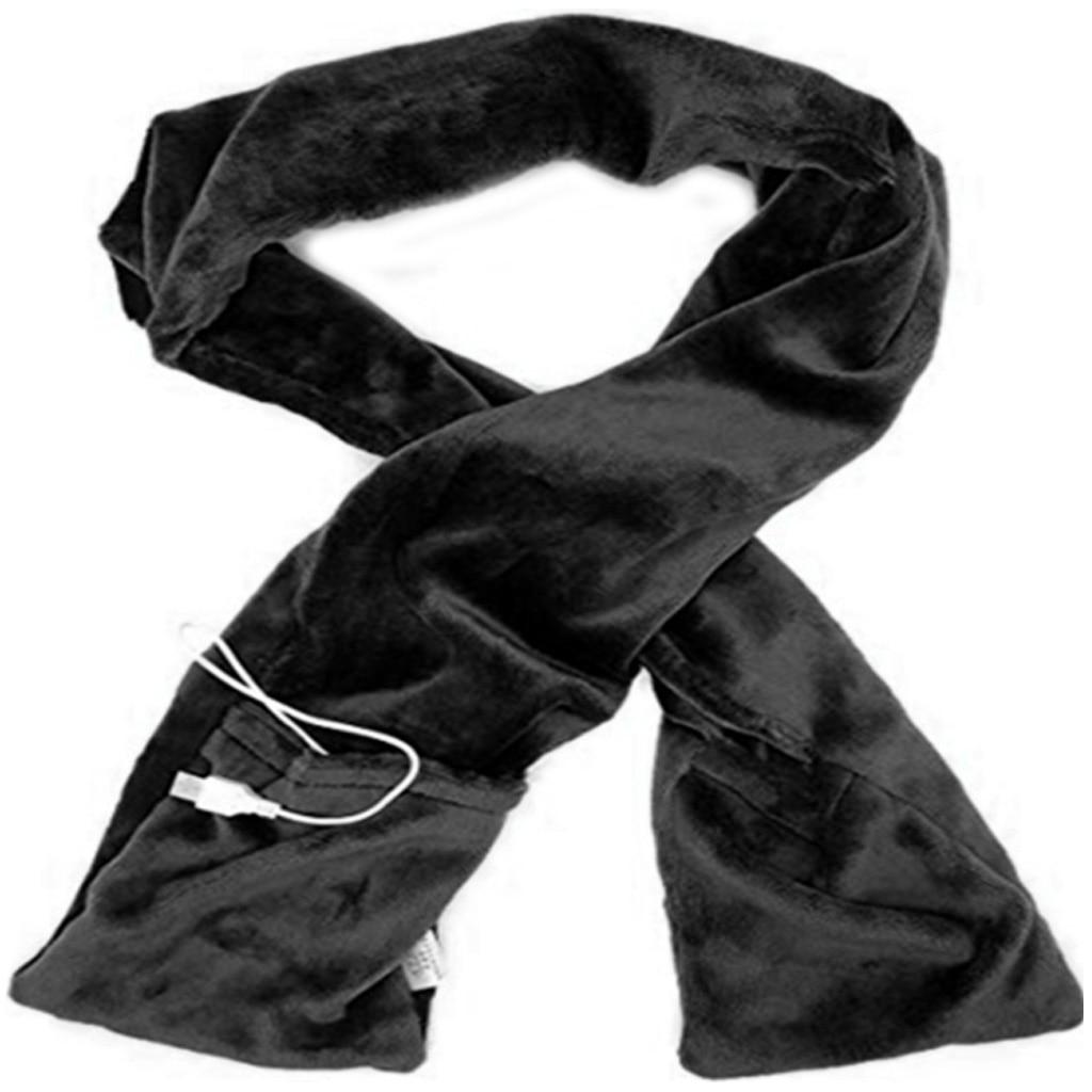 Женский мужской зимний теплый длинный шарф с грелкой для шеи с электрическим питанием от USB, мягкий шарф с карманами, портативный