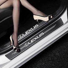 Carro-estilo 4 pçs fibra de carbono peitoril da porta de fibra de carbono adesivo decalques para lexus rx 300 é 250 300 gx 400 460 ux 200 nx lx gs es