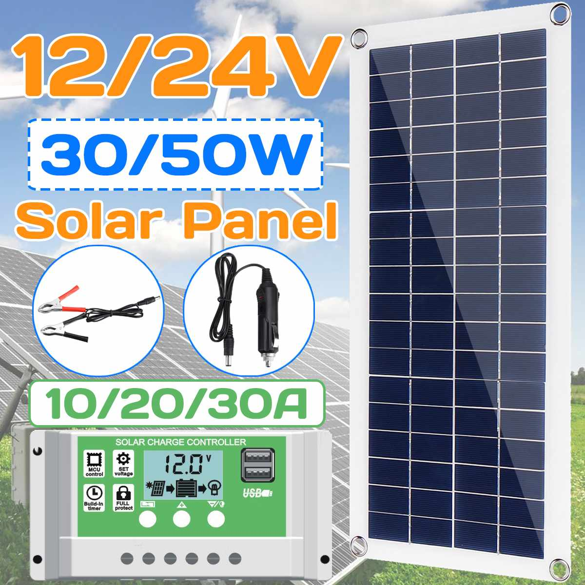 30W/50W Flexible Solar Panel 10-30A 12V 24V Controller Car Charger For RV Car Boat LCD Display PWM Solar Panel Charge Controller