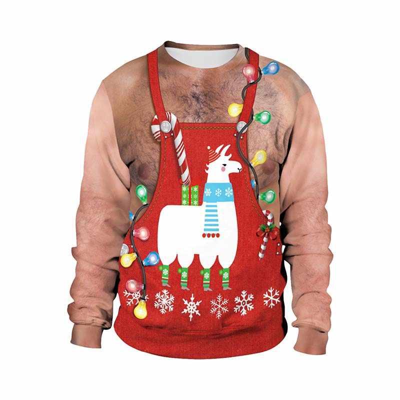 Jelek Natal Sweater Unisex Pria Wanita Liburan Santa Elf Pullover Lucu Wanita Pria Sweater Tops Musim Gugur Pakaian Pakaian Olah Raga