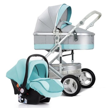 Baby stroller 3 in 1, baby stroller and car seat set,four wheels strollers,High Landscape Pram Carriage Basket,Luxury travel car image