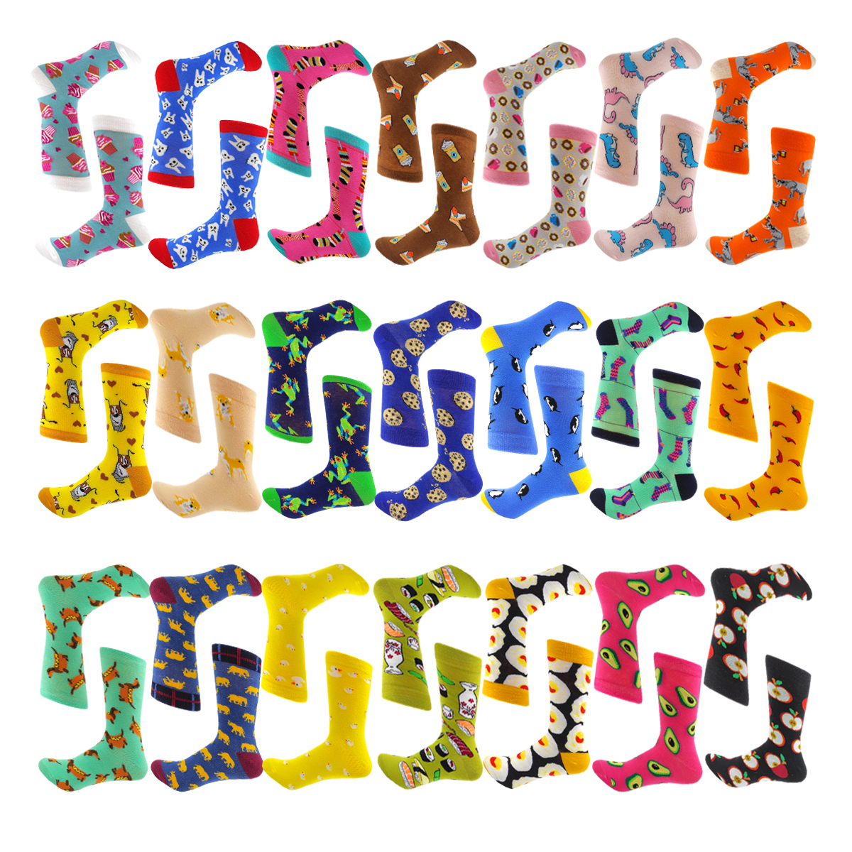 Spring Summer Hip Hop Harajuku Cartoon Cotton Women Socks  Kawaii Cute Pink Apple Eggs Cookies Dog Duck Funny Socks Size35-40