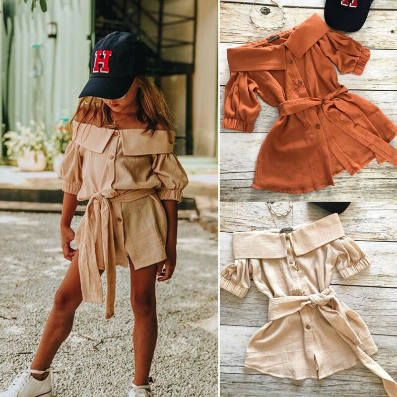 Toddler Kids Baby Girl Casual Dress Off Shoulder Bowknot One Piece Dress Romper Jumpsuit Summer Outfit Shoulderless Kids Clothes