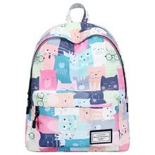 Cat Printed Backpack Women…