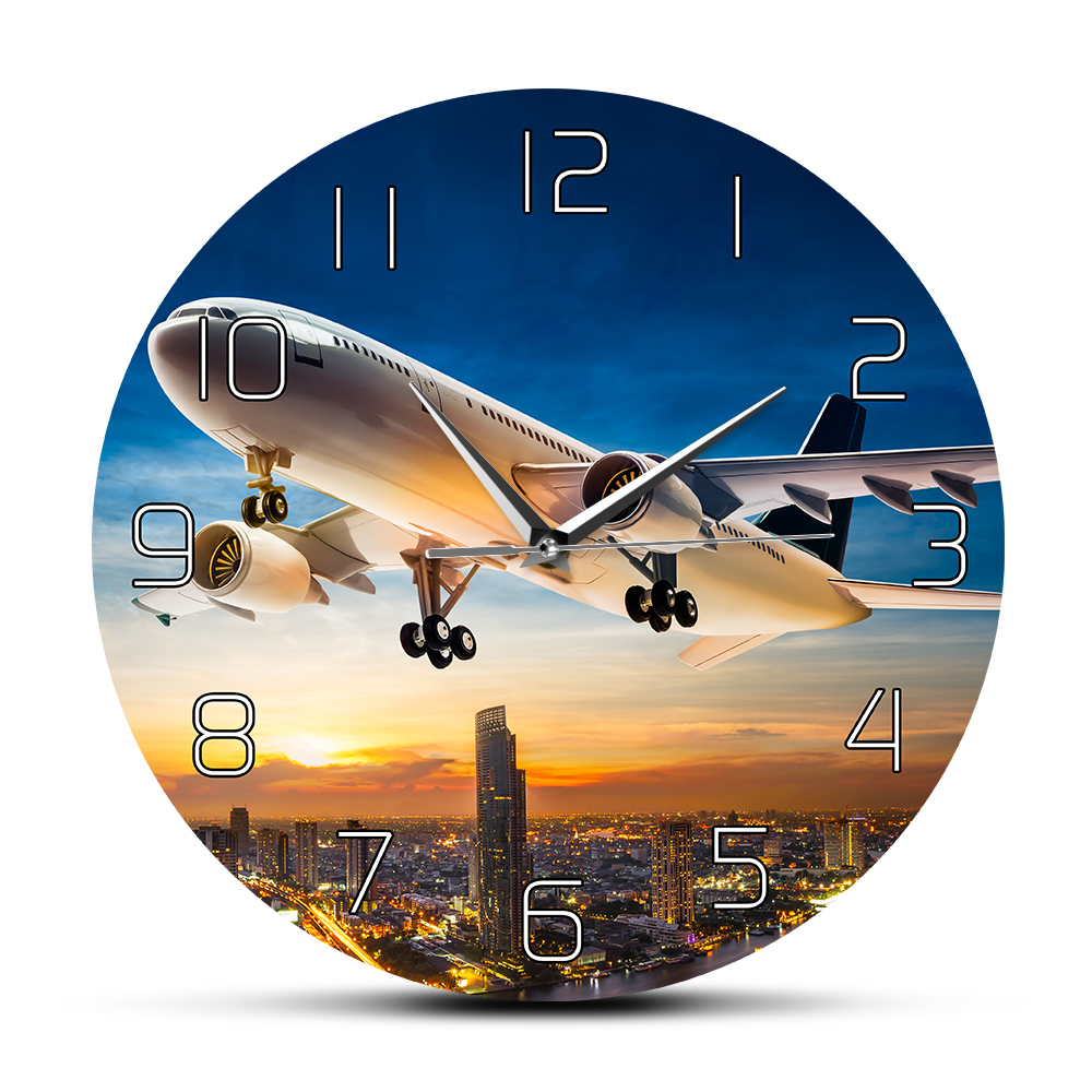 Take Off Sunset Aeroplane Aviator Home Decor Wall Clock Air Jet Plane Flying Over City Skyline Aircraft Modern Silent Wall Clock