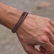 Vnox Многослойные плетеные кожаные браслеты для мужчин праздничные