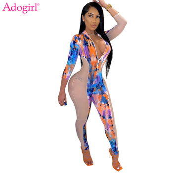 Adogirl Sheer Mesh Patchwork Tie Dye Print Jumpsuit Zipper V Neck Long Sleeve Skinny Romper Sexy Nightclub Overalls Outfits